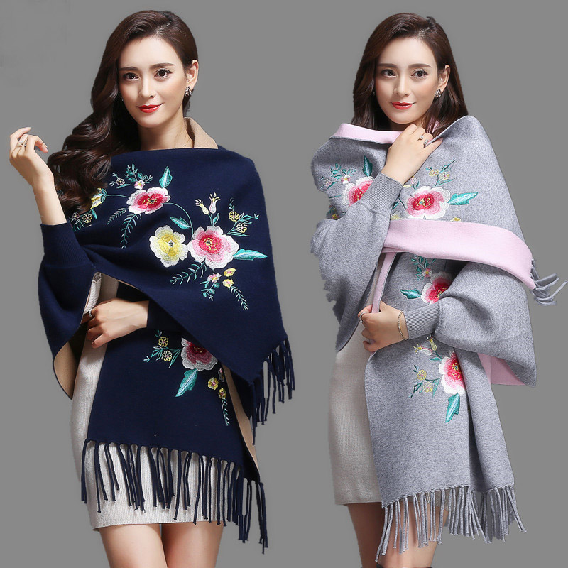 Women Scarf Oversized Winter Scarves Shawl Embroider Thick  Warm Tassels Cotton Wool Blend Poncho Floral Women's Scarf Cape