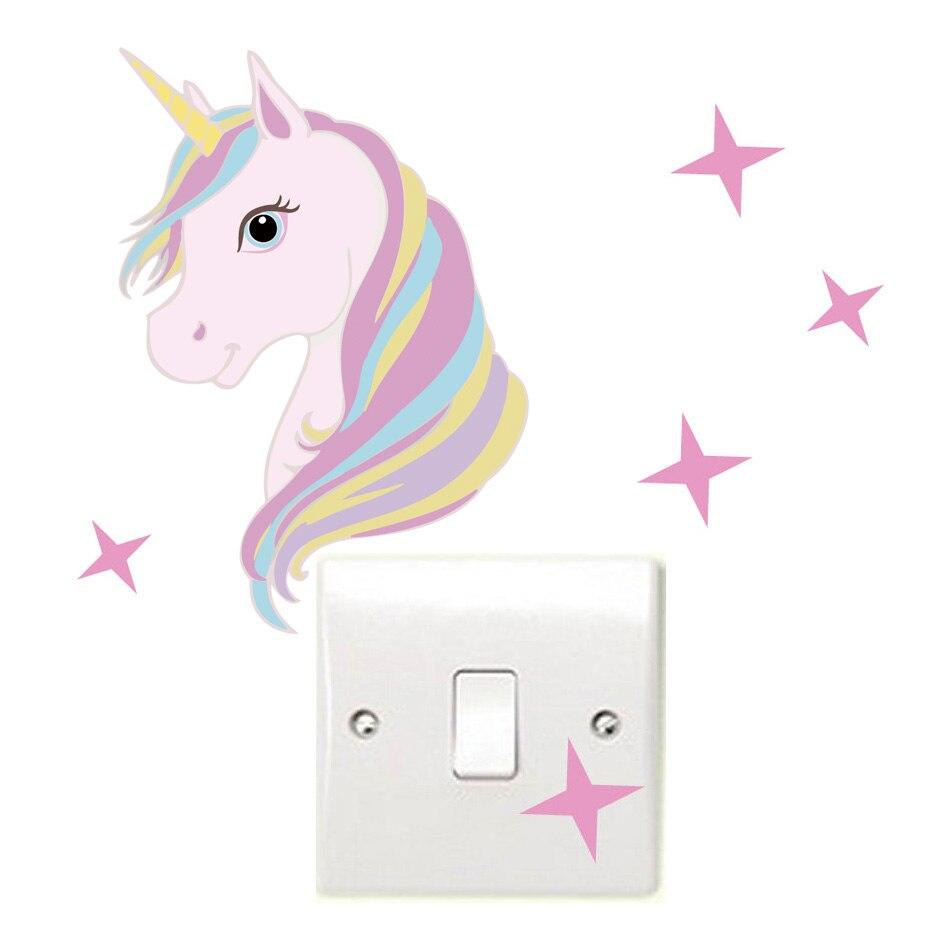 Цвет Единорог звезда переключатель наклейки стены Книги по искусству C Книги по искусству Ун лошадь дети стены таблички Водонепроницаемый ...