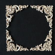 Vintage madera calcomanía tallada esquina Onlay marco de aplicación mueble o pared sin pintar para el hogar gabinete puerta ventanas espejos decoración artesanal