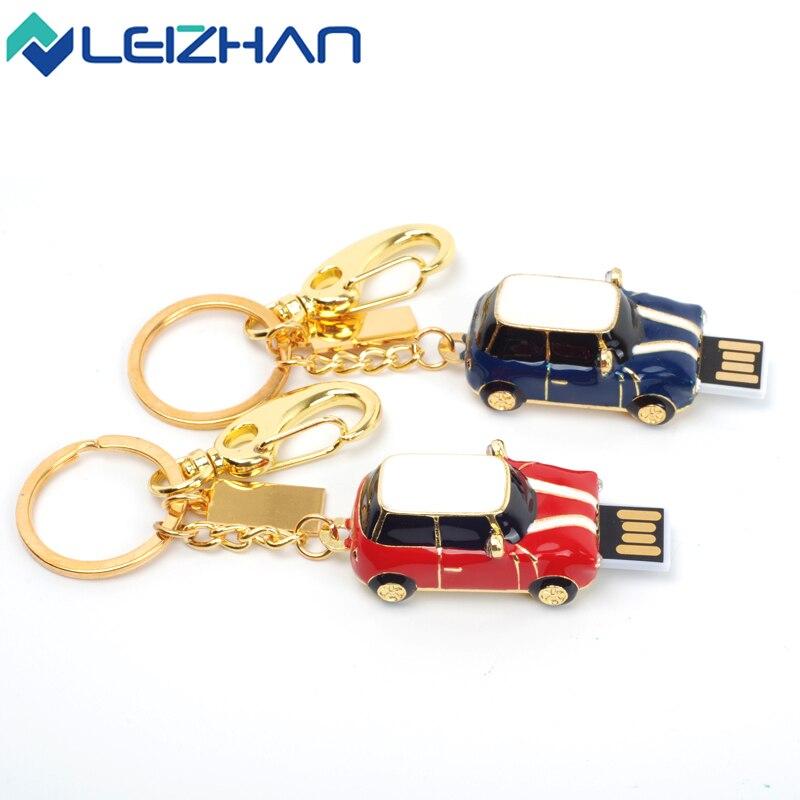 LEIZHAN Mini Car USB Flash Drive 32gb Metal 16g USB Stick USB 2.0 Pen Drive Pendrive External Storage Computer Memory U Disk 8GB