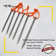 6pcs TiTO Titanium Alloy  Tent Peg Titanium spike nail Outdoor Camping Accessory Tent Stake length 165mm Diameter 5.0mm