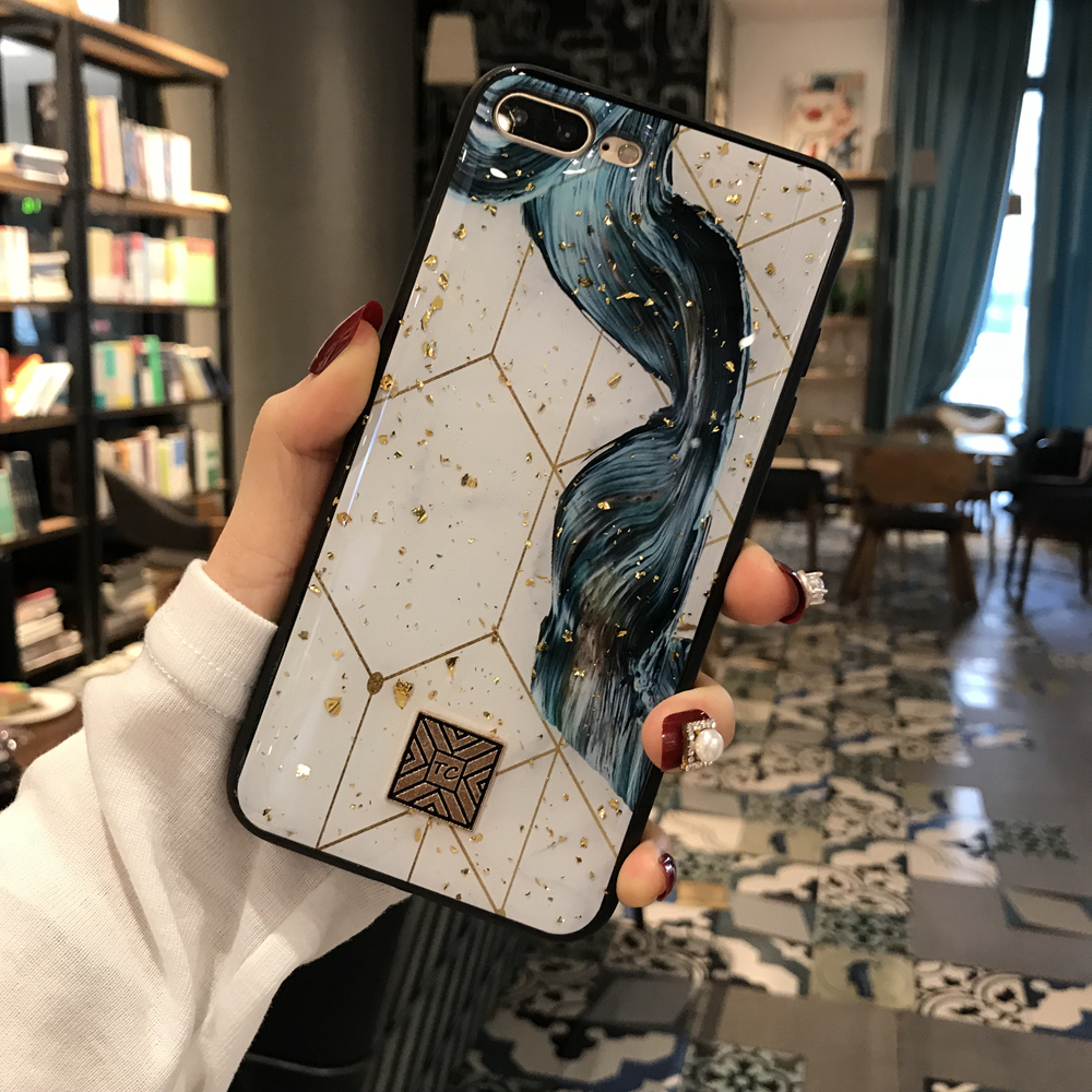 Gold Foil Marble Bling Phone Case For iPhone X XS Max XR Soft TPU Granite Geometry Cover For iPhone 7 8 6 6s Plus Glitter Case (4)