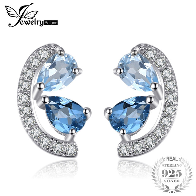 JewelryPalace 0.8ct Natural Sky Blue Topaz and London Blue Topaz Cluster Stud Ea