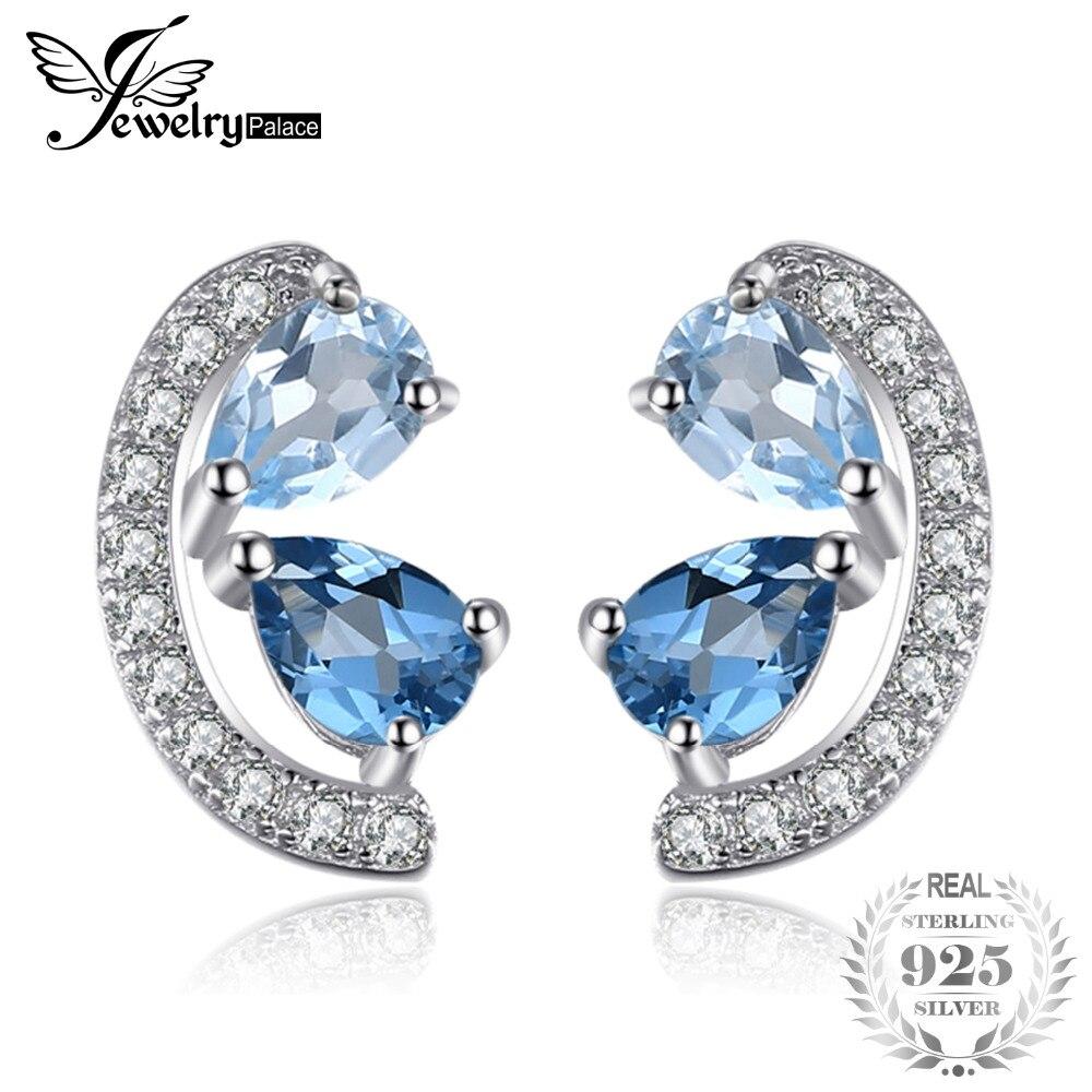 JewelryPalace 0.8ct Sky Naturale Topazio Azzurro e London Blue Topaz Cluster Orecchini con perno Genuino Dell'argento Sterlina 925 Dei Monili Delle Donne