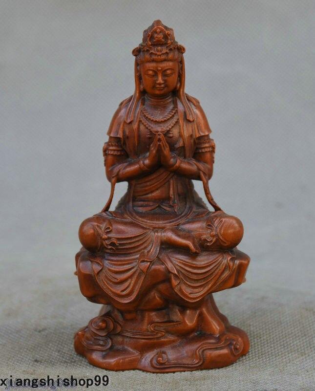 Chinese Boxwood Wood Carved Stand Kwan-yin Guanyin Quan Goddess Statue