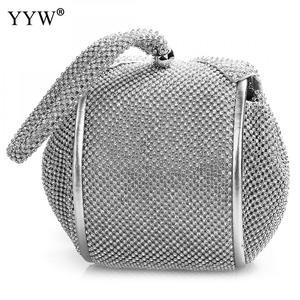 Image 4 - Fashion Pu Leather Clutch Bags Of Women Solid Casual Women Small Bag Silver Gold Rhinestone Party Evening Bag Bolsa Feminina