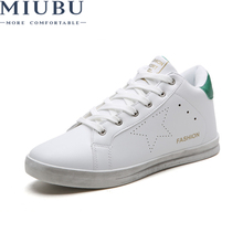 MIUBU High Top Shoes Men Genuine Leather Winter Non-slip New Arrivals Zapatos De Hombre Lace-up Casual Shoes Flat  Shoes Men стоимость