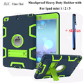 Case For iPad Mini 3 2 1 Retina Kids Safe Armor Shockproof Heavy Duty Silicone Hard Case Cover With Kickstand + Free Stylus Pen