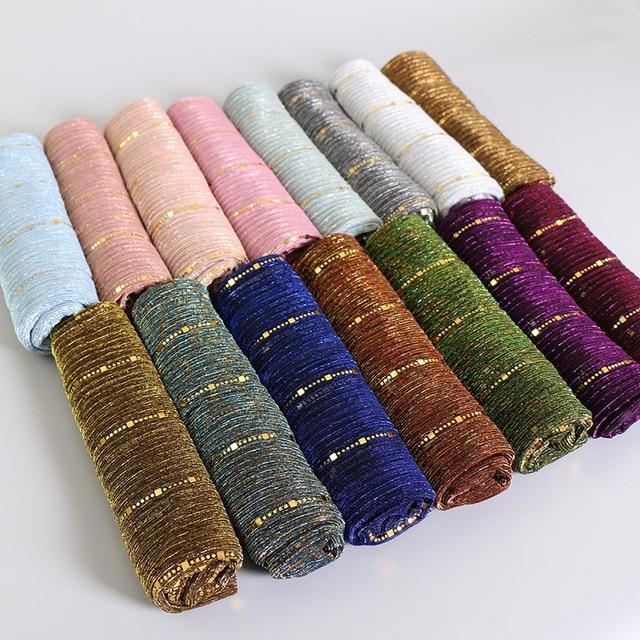สวย! Magic Filamentเลื่อมผู้หญิงมุสลิมHijabs Shimmer Shawl Hijabsริ้วรอยอิสลามผ้าคลุมไหล่ผ้าพันคอหัว