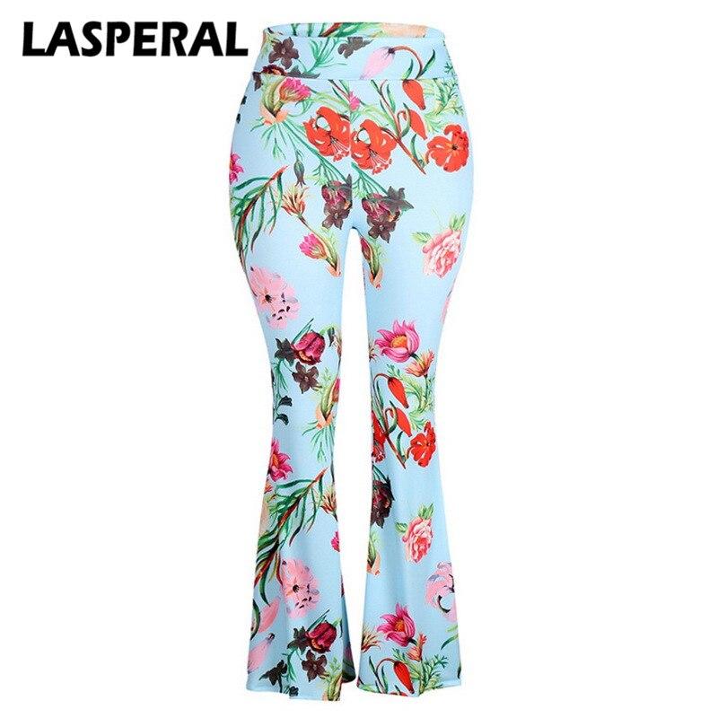 LASPERAL Women Floral Print Flare Pants 2018 Fashion High Waist Femme Dance Trousers Skinny Pants Capri Pantalon Spring