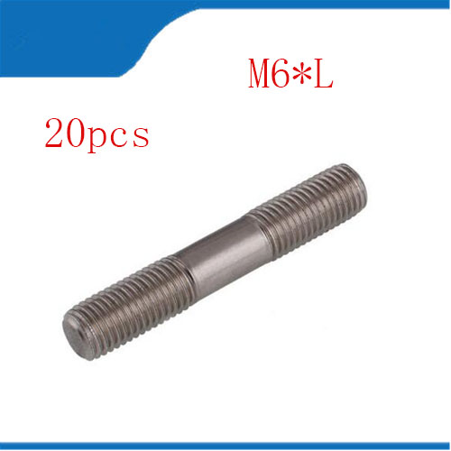 цена на double threaded stud 20PCS M6 Stainless Steel Double End Threaded Screw Headless Double Thread Studs Bolt M6*25/30/35/40-100mm