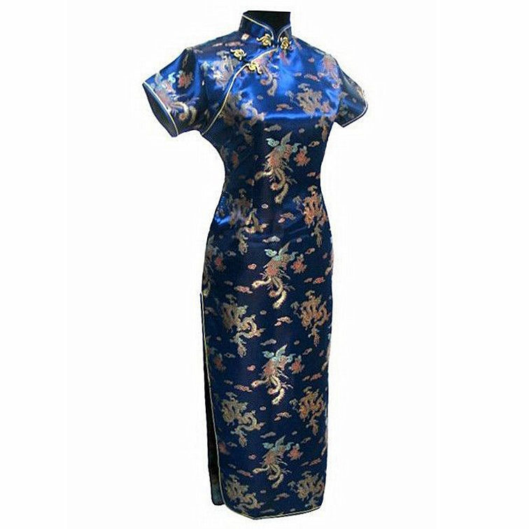 Crna Ženska Satin Long Cheongsam Qipao Tradicionalna kineska haljina - Nacionalna odjeća - Foto 4