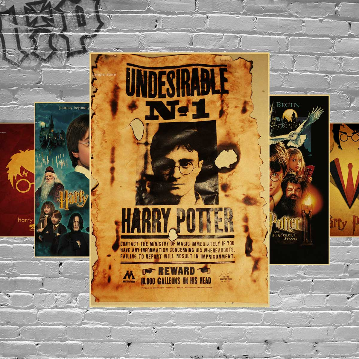 Harry Potter poster series Magic world Home Furnishing decoration Kraft Movie Poster Drawing core Wall stickers