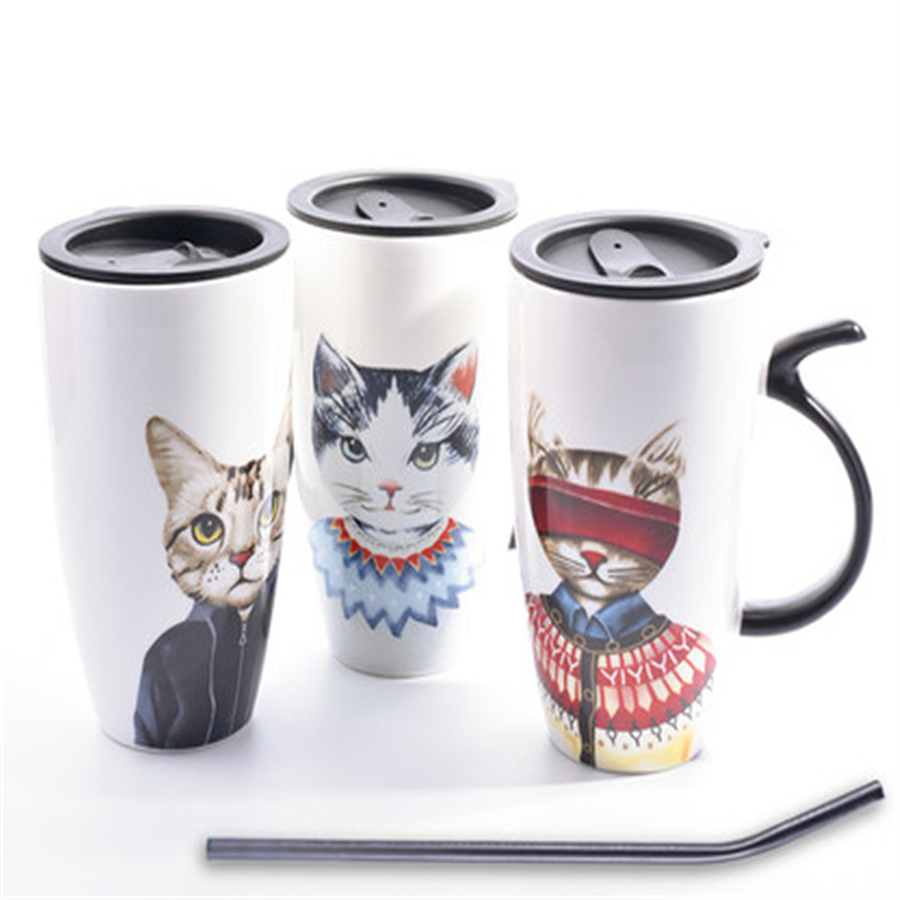 Tea Coffee Ceramic Mugs Cat Cup Cartoon Art Supplies Cute Interesting Cup Drinkware Porcelain Eco friendly Mugs Stocked QQB812