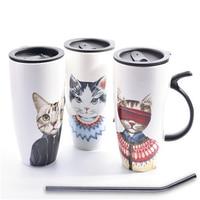Tea Coffee Ceramic Mugs Cat Cup Cartoon Art Supplies Cute Interesting Cup Drinkware Porcelain Eco friendly Mugs Stocked QQB812