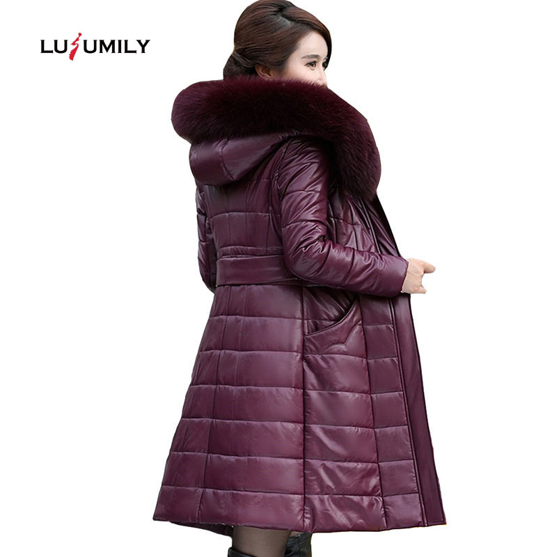 Lusumily Winter Women Coats Long Leather Jacket Coat Female Fashion Big Fur Collar Thick Slim Plus