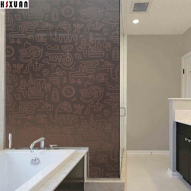 Self Adhesive Glue Window Film 91x100cm Creative Patterns Bathroom Home  Decor Privacy Glass Window Stickers