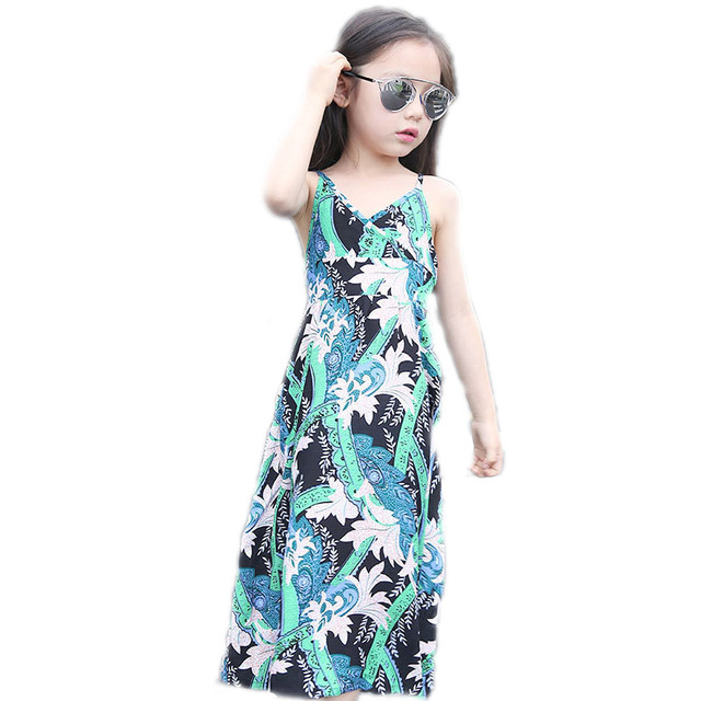 a4a17dba61 Summer Bohemia girls dress kids clothes long beach children dress  sleeveless flower printed beach dress girl baby clothing 4-16T