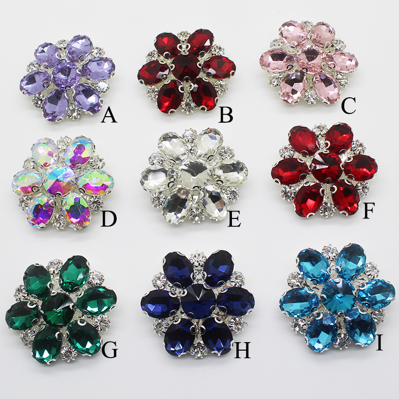 New 38MM 5 Pcs/Lot Satellite Stone Alloy Glass Button Diamond Shank Button For Clothing Accessories Hand Sewing Decoration