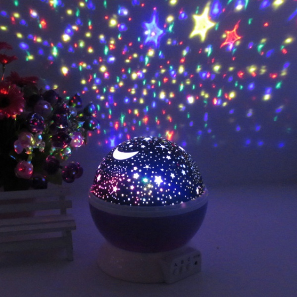 2018 Kid New Gift Bed Night Lighting Romantic New Rotating Star Moon Sky Rotation Night Projector Light Kids Bed Lamps rotation starry star moon sky romantic night projector light lamp pink