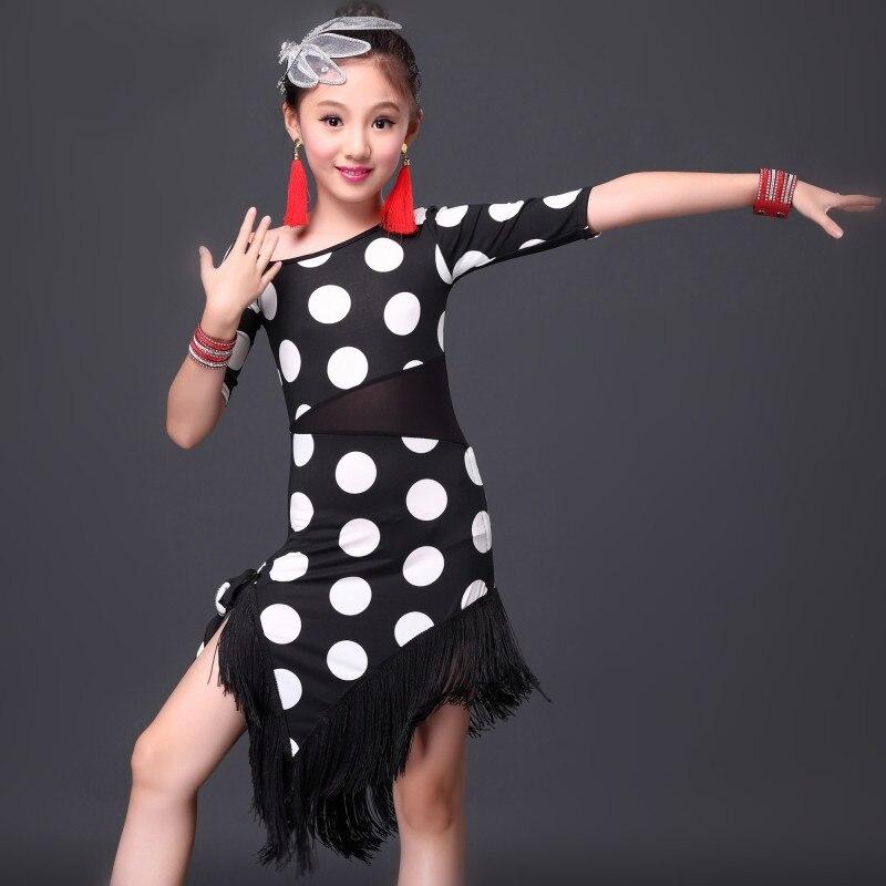 Picture of Children New Black Polka Dot Latin\Rumba\Samba\Chacha Dance Dress Girls Red Latin Dance Practice Competition Performance Costume