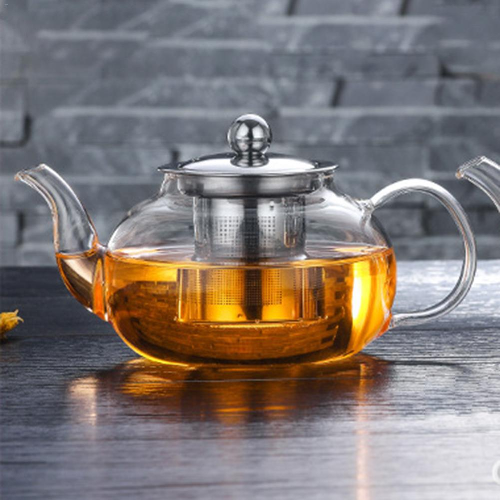 Heat-resistant Glass Teapot With Stainless Steel Filter Glass Kettle Flower Teapot For Chinese Tea Scented TeaHeat-resistant Glass Teapot With Stainless Steel Filter Glass Kettle Flower Teapot For Chinese Tea Scented Tea