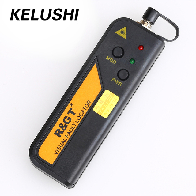 Kelushi 10mw ftth mini tipo localizador visual da falha da fibra óptica ferramenta de teste do verificador da fonte de luz vermelha com conector de 2.5mm (sc/fc/st)