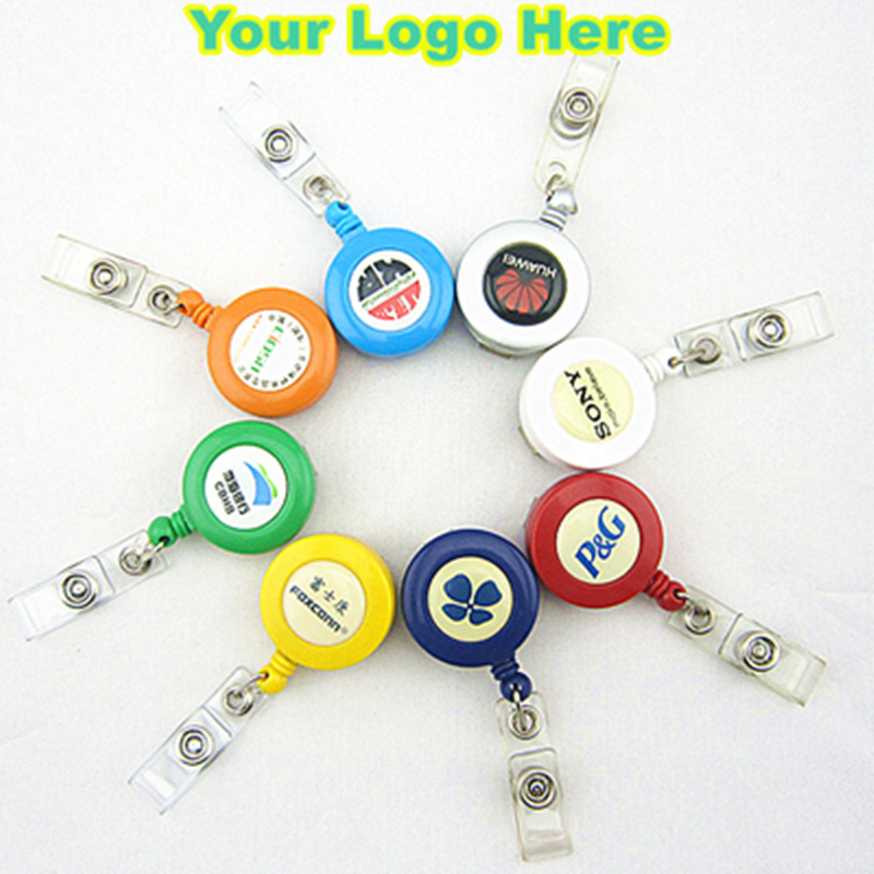 100pcs Customized Logo Badge Reel ABS Plastic Retractable Tag Reels Business Custom Gifts Corporate Gifts ID Card Badge Holder