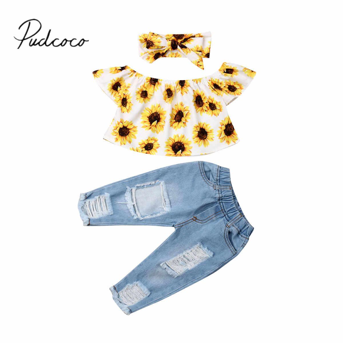 Toddler Baby Girl Kid Off Shoulder Sunflowers Tops+Denim Pants Outfits Set US
