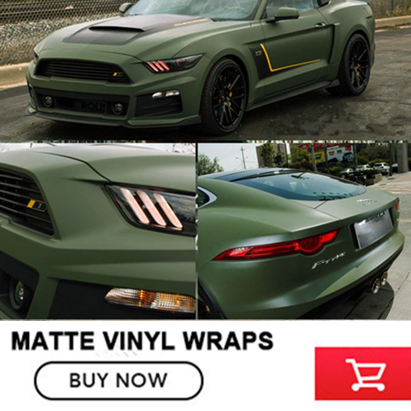 1.52x30m/Roll Army green Matt Vinyl wrap Car Wrap With Air Bubble Free Army green Matt Film Vehicle Wrapping Sticker kundui suitcase women men travel bag thickening aluminum alloy laptop large toolbox lockable storage display box briefcase