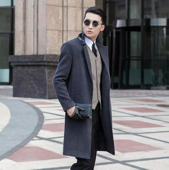 Grey long sleeve suit collar wool coat men jackets and coats mens slim wool No buttons winter trench coats outerwear S – 9XL