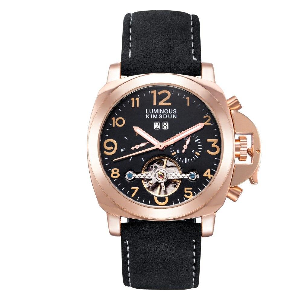 Men's sports luxury KIMSDUN brand automatic mechanical watches fashion military waterproof tourbillon leather strap clocks