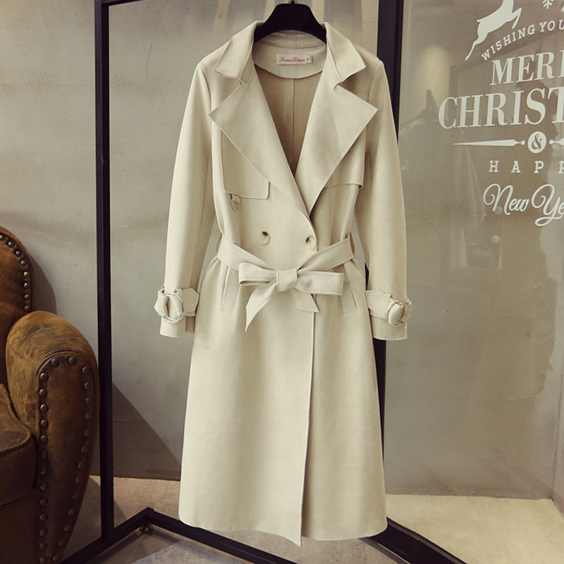 Fashion women faux suede   trench   coat white coats large lapel outwear plus size loose long slim overcoats