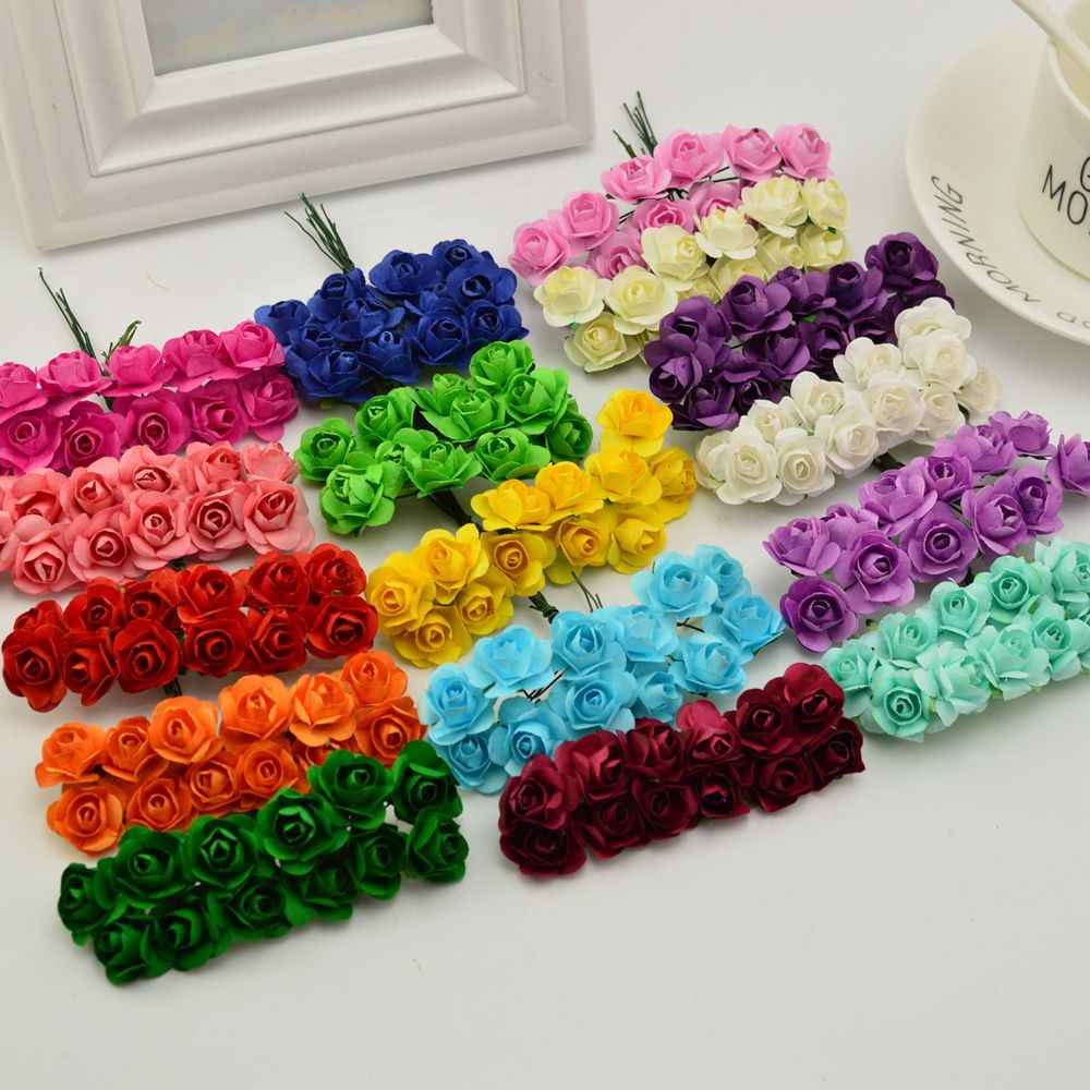 144pcs 1cm cheap Artificial Paper flowers for Wedding car fake Roses Used For decoration Candy box DIY wreath Handmade