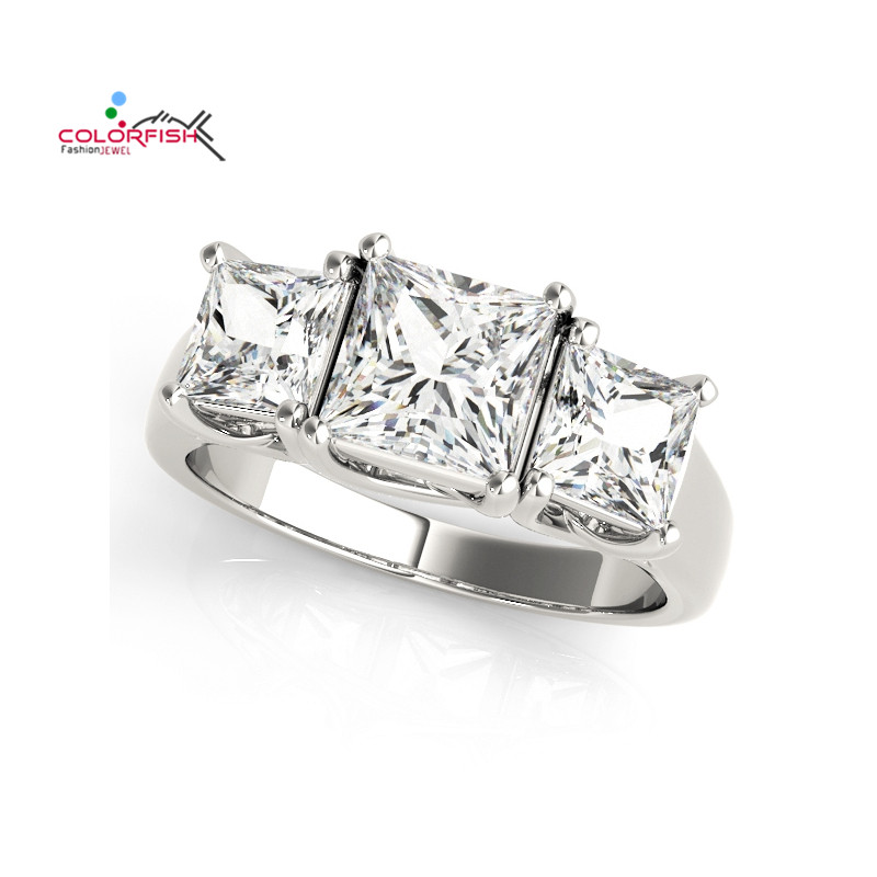 COLORFISH New Arrival Princess Cut Ring Wedding 925 Sterling Silver Anillos Mujer Women Shine Three Stone Engagement Bands Ring