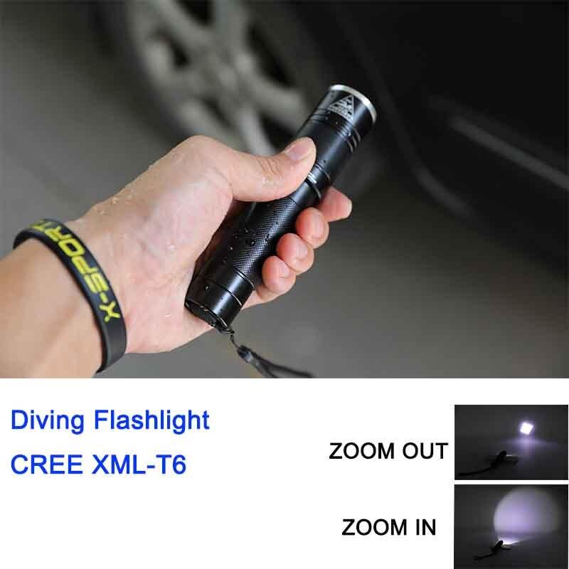 Дайвинг мини-фонарик зум водонепроницаемый свет длинные 3 режима фонарик светодиодный Открытый Подводные ручной работы для 18650 или 3 * ААА ба... ...