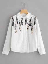 Fashion New Women Turn Down Collar Long Sleeve Autumn Blouse Caual Slim Office Wear White Stereo Leaf  Embroidery Shirt
