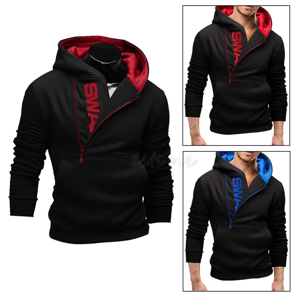 Stylish Men's Slim Warm Hooded Sweatshirt Zipper Coat Jacket Outwear