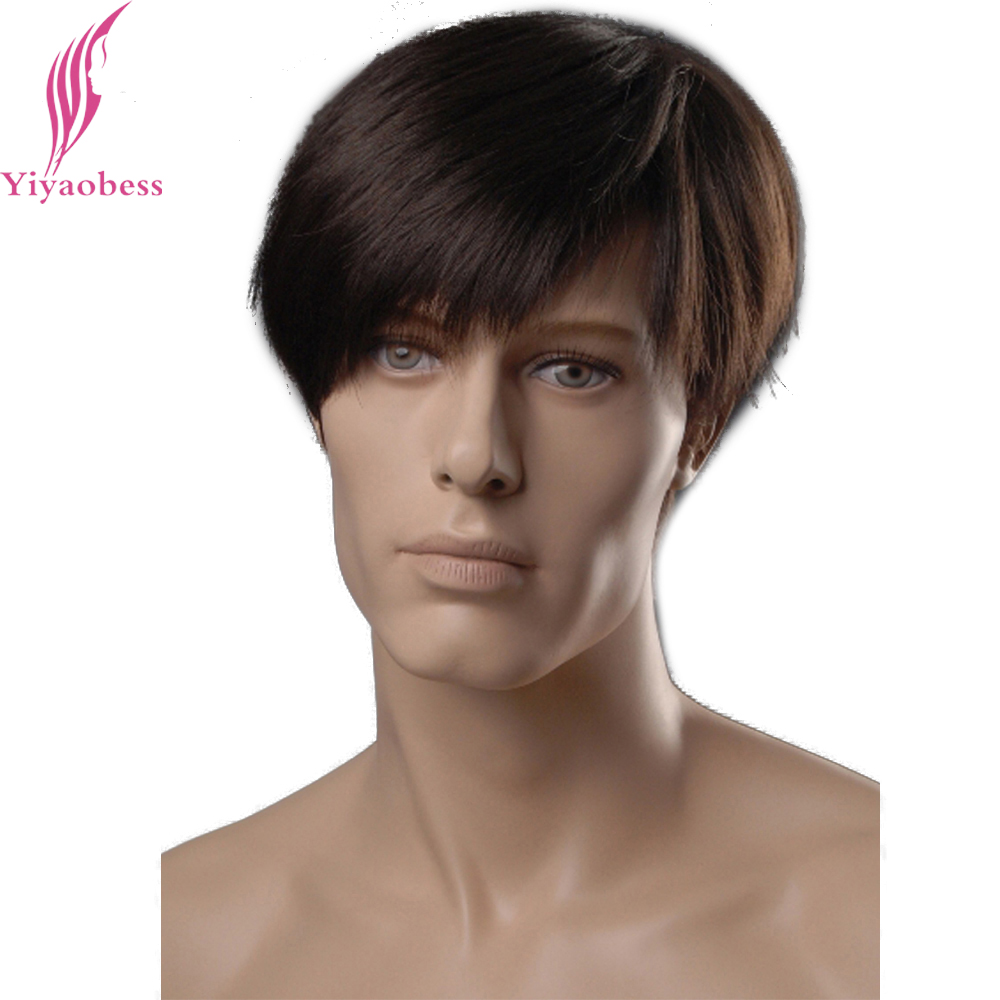Yiyaobess 8inch Heat Resistant Synthetic Straight Hairstyles Short Mens Wig Brown Natural Male Hair Free Shipping