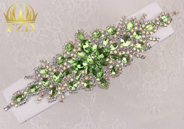 (30pieces) Wholesale Hotfix AB Crystals Light Green Color Rhinestone Sequin  Applique for Garment Dresses Headband Bridal Garters 281968e3bc16