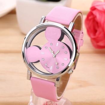 2017 Fashion Mickey quartz Women Watches casual transparent hollow dial leather wristwatches women dress watch relogio feminino Women Quartz Watches