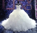 Vintage Vestido De Noiva 2017 vestido de Bola Catedral Tren Ruffles Con Cuentas Vestidos de Novia de La Boda Vestidos Vestido de Novia vestido de Novia
