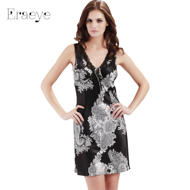ERAEYE Sexy Women Nightwear Temptation Imitation Silk Satin Sleepwear Lingerie Plus Size Nightdress Summer Nightgown Sleepshirts