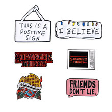 Stranger Dingen Emaille Pins Collecties Vrienden Niet Liggen Ik Geloof Wafel Tv Televisie Enamel Broches Pins Voor Vrienden