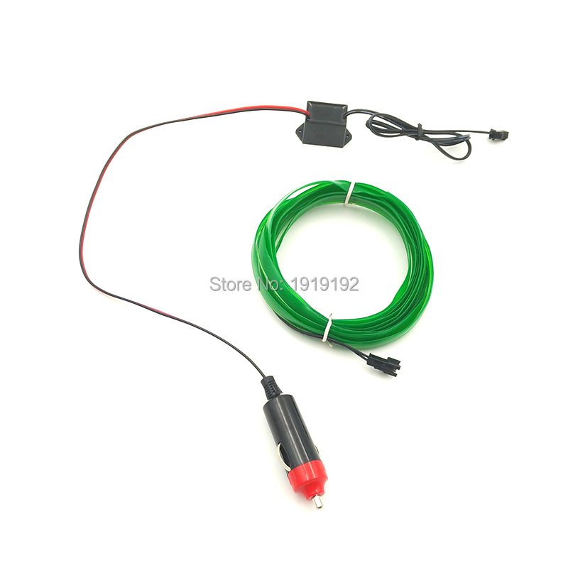 10 <font><b>Color</b></font> Choice For Car Internal Party Decorative DC12V Steady On 5Meters 2.3mm with Skirt EL Wire Rope Tube Flexible Neon Light