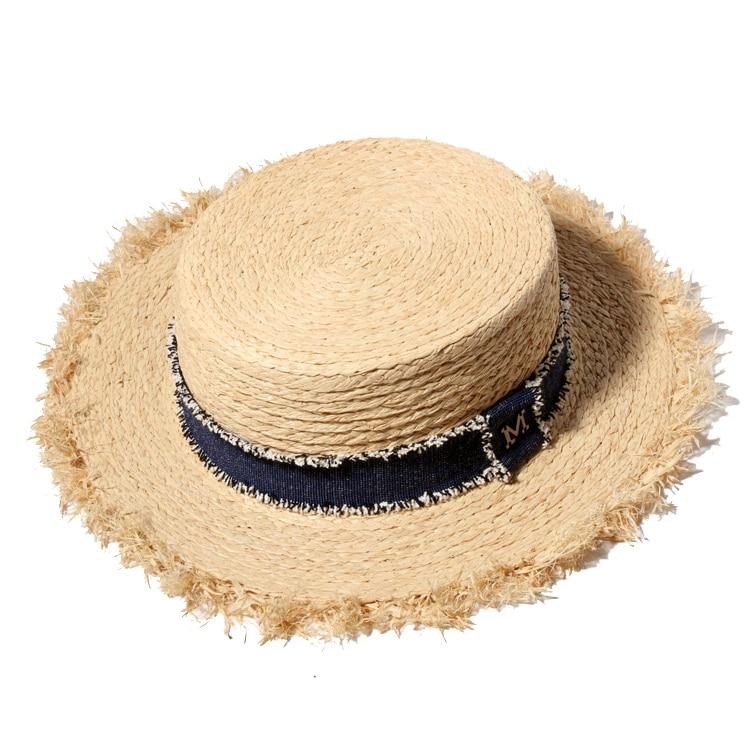 Ploché slaměné čepice pro muže 2017 Letní přírodní Raffia Panama Hat Ženy Velké Brim Beach Čepice Chapeu Masculino