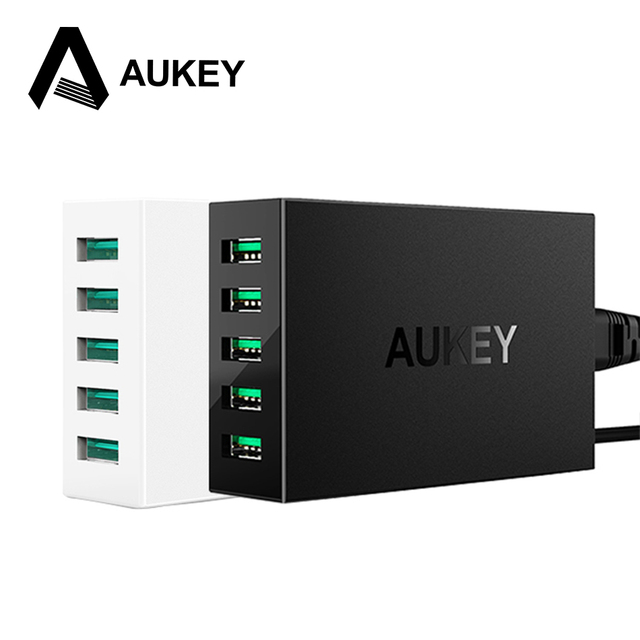AUKEY brand 5 Ports Desktop USB Charger 50W/10A with AlPower Tech for iPhone iPads iPod Samsung Xiaomi  Mobile Devices Tablets PC  on AliExpress