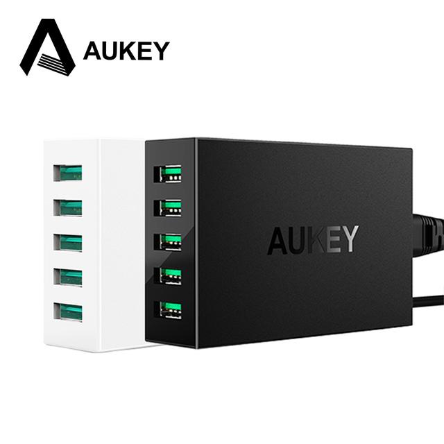 Aukey 5 puertos usb cargador de escritorio 50 w/10a con alpower tecnología para iphone ipad ipod samsung xiaomi & más móvil dispositivos de tabletas/pc