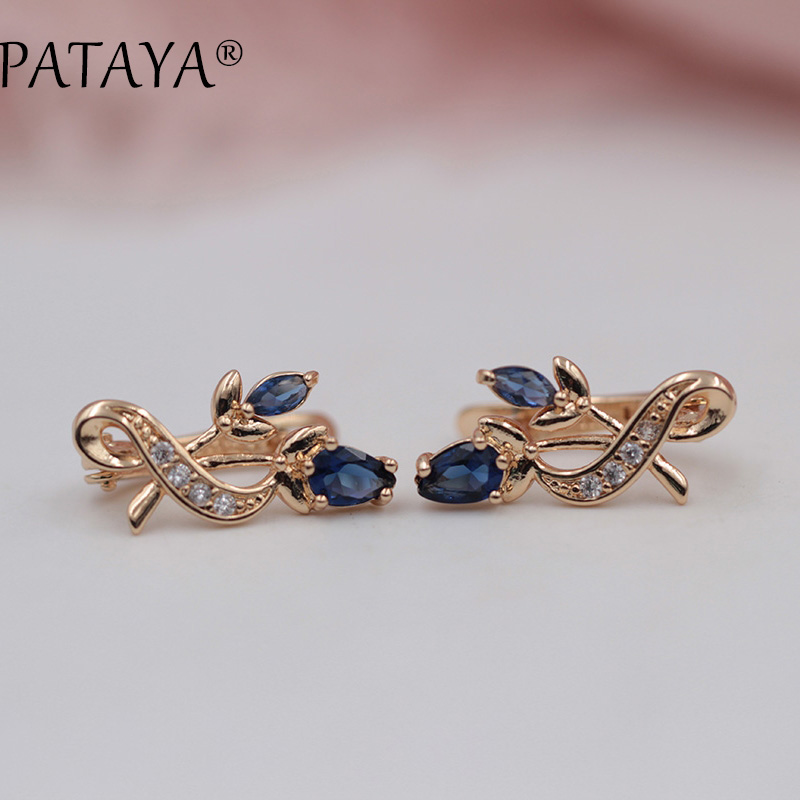 PATAYA Luxury Crystal Drop Earrings Flower Women Jewelry