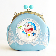 Cartoon Bag Young Girl Handmade Bag Messenger Small Bag Unique Blue Leather Bag The Mouth Gold Package Doraemon Totes Handbag